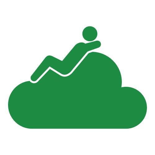 緑色の雲の上でくつろぐ全身緑色の人