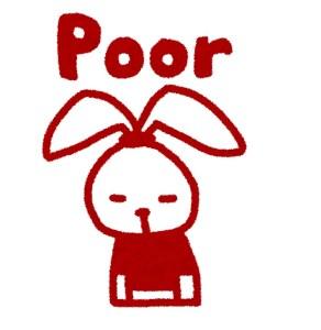 白と赤を基調としたウサギのキャラクターが「poor」と残念がってる様子