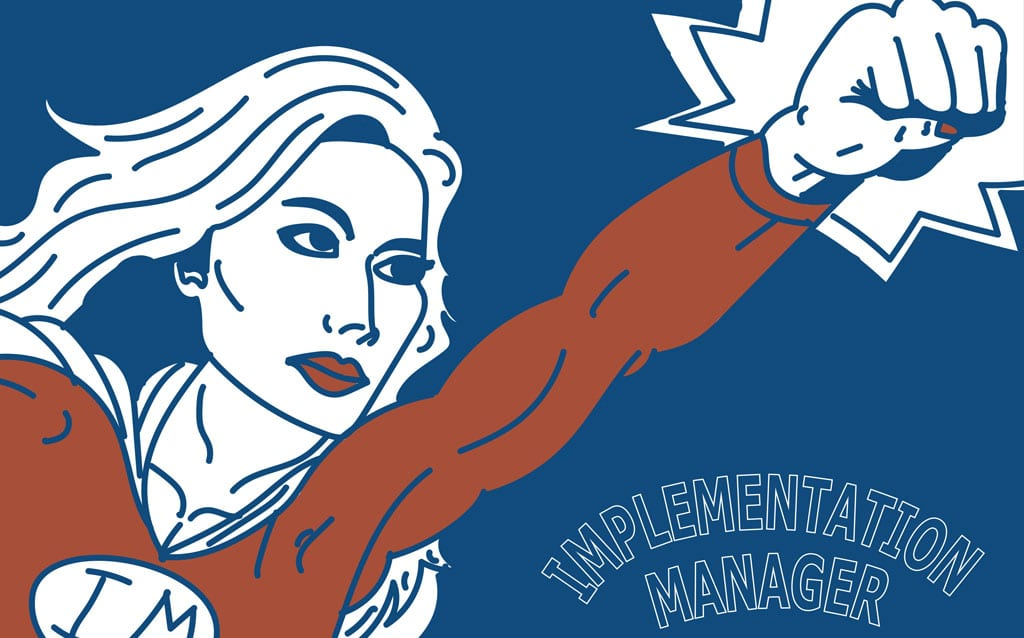 Implementation Manager superhero illustration
