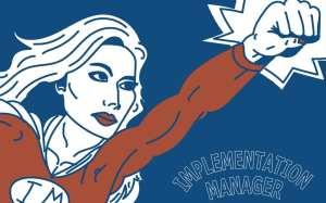 Implementation Manager superhero illustration