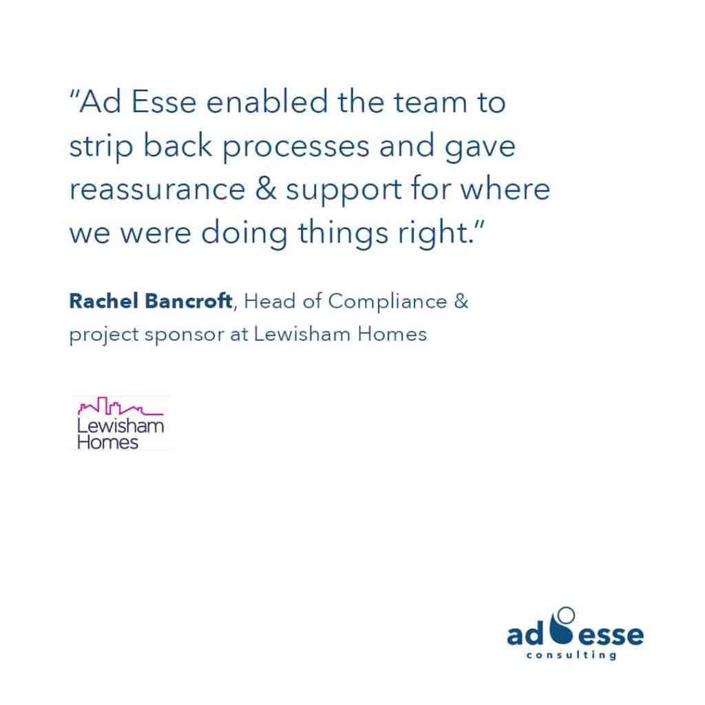 Rachel Bancroft head of compliance at Lewisham Homes testimonial about Ad Esse Consulting