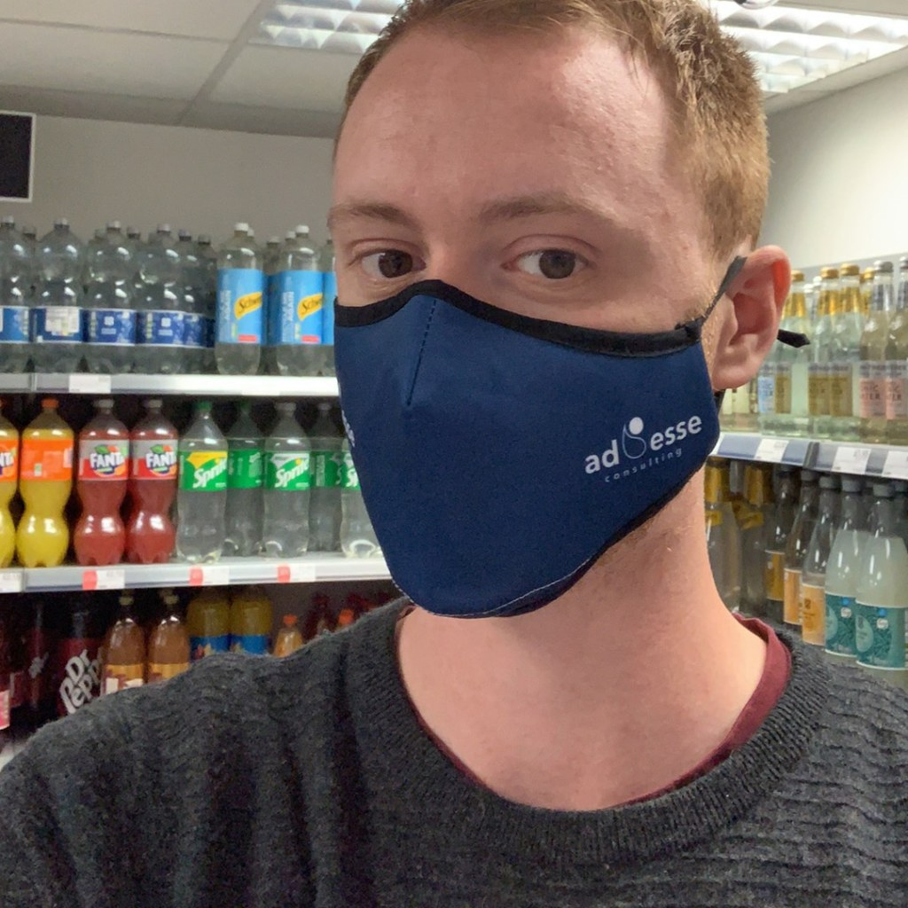 Ad Esse Consulting mask selfie by Kieran Cresswell, Implementation Manager