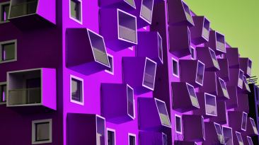 Purple apartment abstract balconies