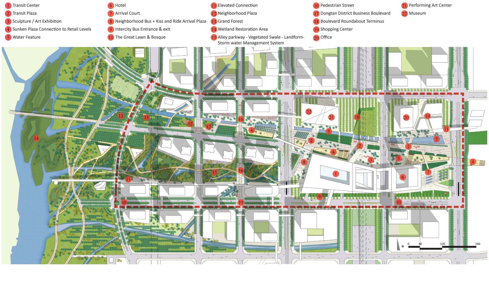 Transit oriented city dongtan central business master plan ojanen chiou architects swa Urban planning and design for the american city