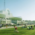 Plans Unveiled For Crystal Palace Rebuild Terrace view . Image © ZhongRong Group