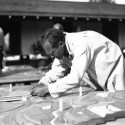 """MoMA Exhibit: Frank Lloyd Wright and the City: Density vs. Dispersal Model of Broadacre City under construction by Taliesin Fellows. 1934–35. Photograph, 9 9/16 x 7"""" (24.3 x 17.8 cm). The Frank Lloyd Wright Foundation Archives (The Museum of Modern Art   Avery Architectural & Fine Arts Library, Columbia University, New York)"""