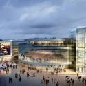 Arte Charpentier Architectes Unveils Plans for Calais Congress Centre Exterior plaza at night. Image © Arte Charpentier Architectes