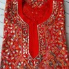 Tomato Red Lucknowi Chikan Dress