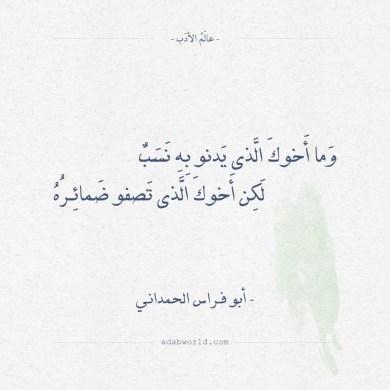 شعر أبو فراس الحمداني - وما اخوك الذي يدنو به نسب