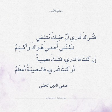 شعر صفي الدين الحلي - فتراك تدري ان حبك متلفي