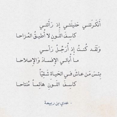 قصيدة إن في الصدر من كليب شجوناً - عدي بن ربيعة