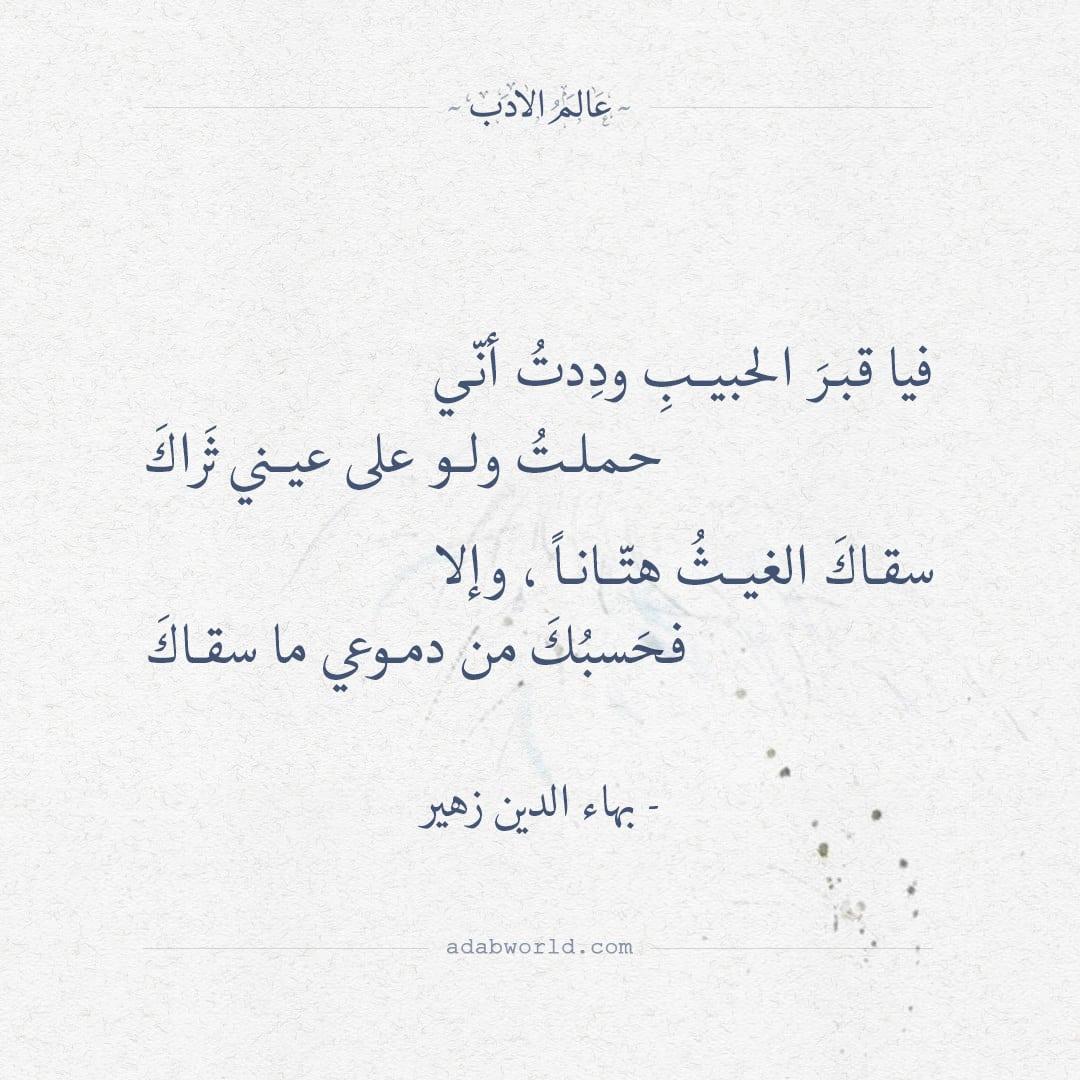 فيا قبر الحبيب وددت أني - بهاء الدين زهير
