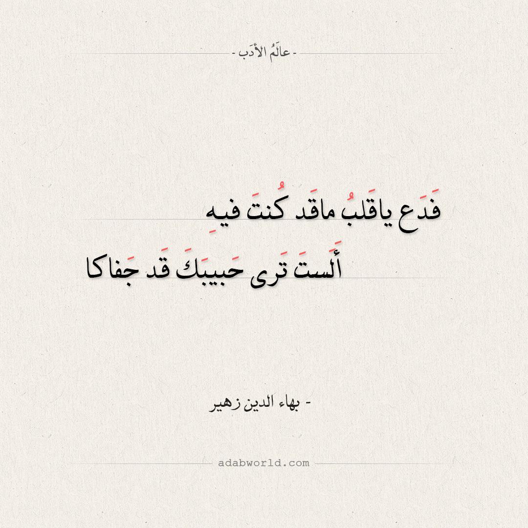 شعر بهاء الدين زهير - فدع يا قلب ما كنت فيه