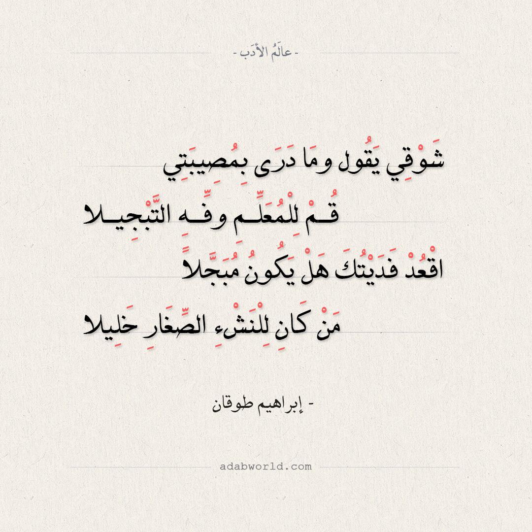 شعر إبراهيم طوقان - شوقي يقول وما درى بمصيبتي