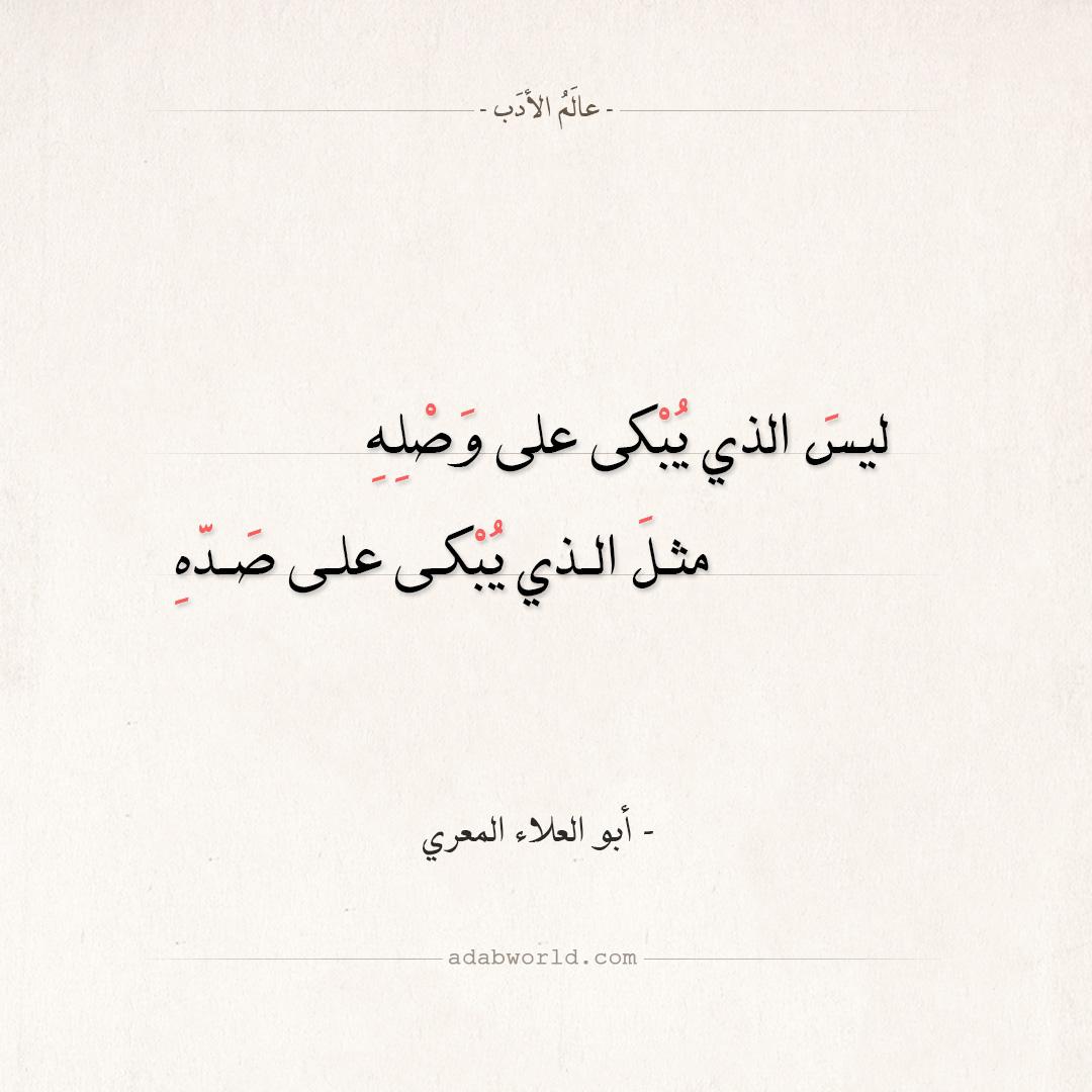 شعر أبو العلاء المعري ليس الذي يبكى على وصله عالم الأدب