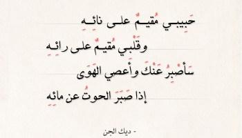 شعر ديك الجن - حبيبي مقيم على نائه