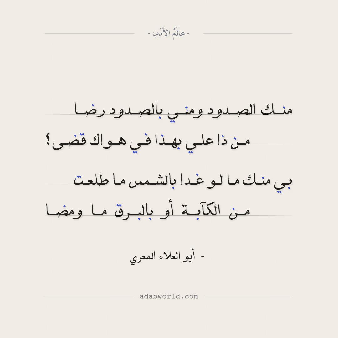 شعر أبو العلاء المعري - منك الصدود ومني بالصدود رضا