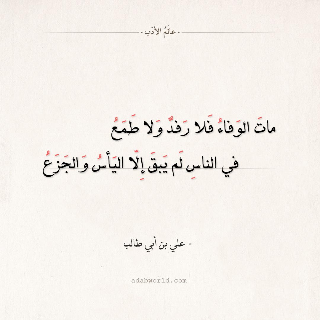 شعر علي بن أبي طالب - مات الوفاء فلا رفد ولا طمع