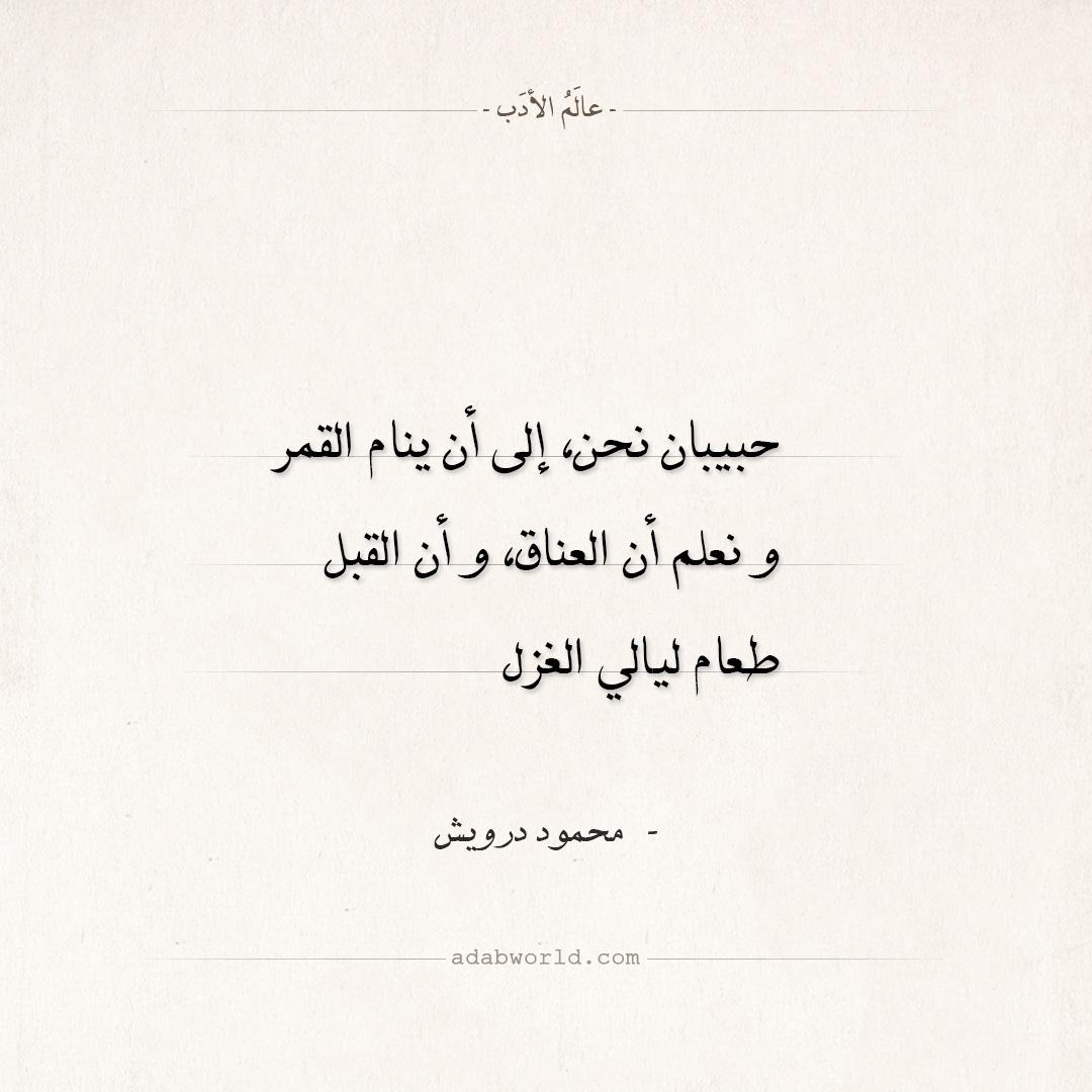 شعر محمود درويش - حبيبان نحن إلى أن ينام القمر