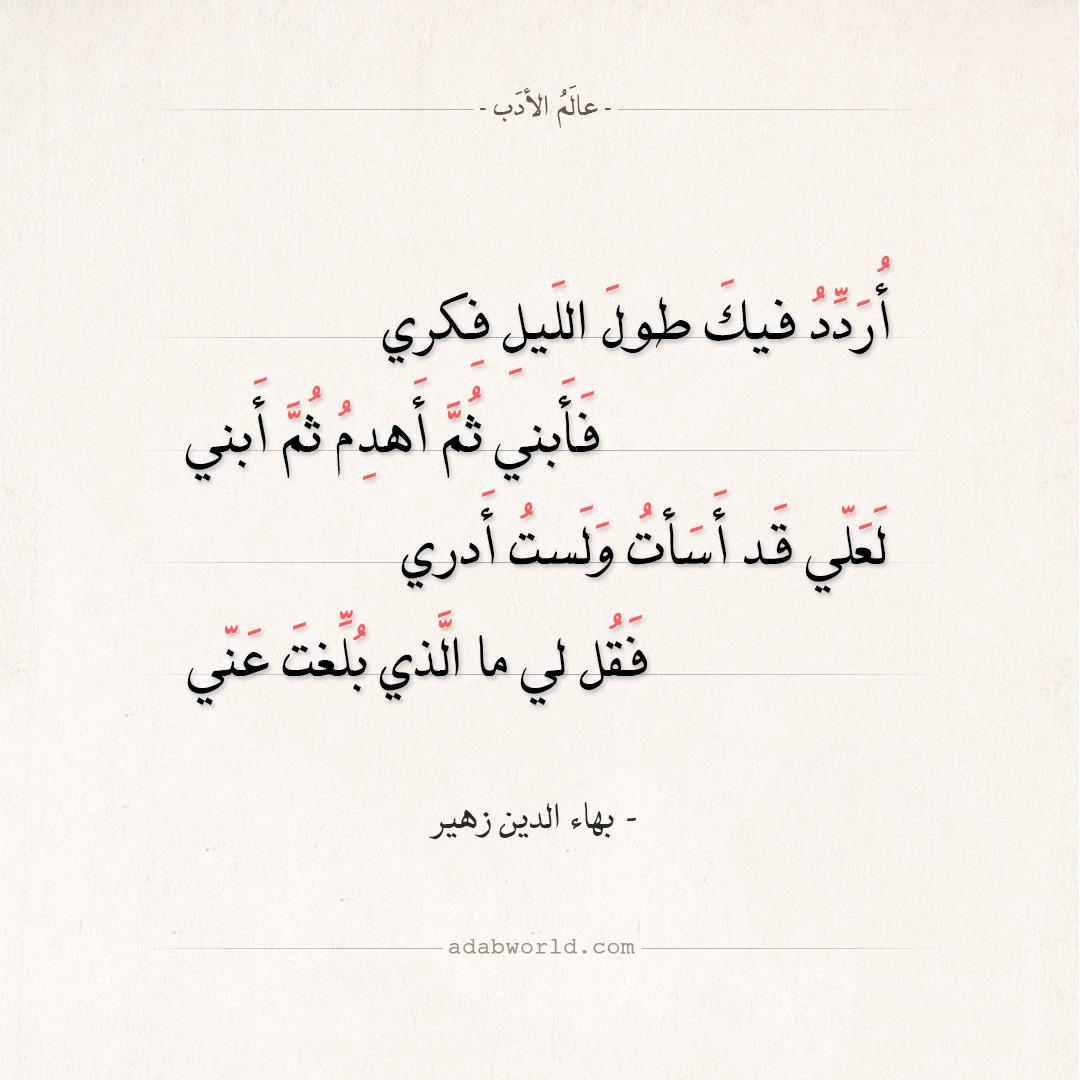 شعر بهاء الدين زهير - أردد فيك طول الليل فكري