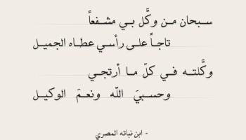 شعر ابن نباته - سبحان من وكل بي مشفعا