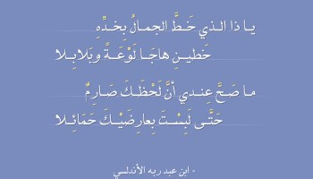يا ذا الذي خَطَّ الجمالُ - ابن عبد ربه الأندلسي