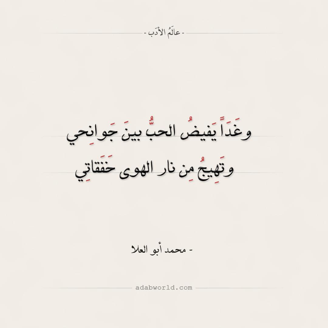 شعر محمد أبو العلا - وغذا يفيض الحب بين جوانحي