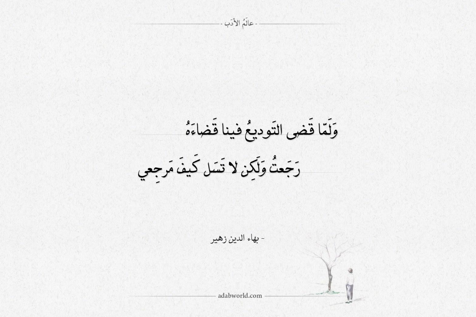 شعر بهاء الدين زهير لا تسل كيف مرجعي
