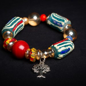 Turquoise and Clear Beads, with Large Red Bead and Tree Charm (Akoma, Star)