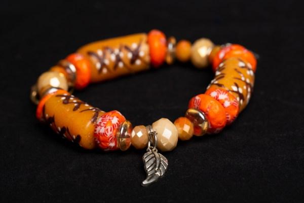 Orange, Tan Beads with Leaf (Akofena/Anchor) Charm