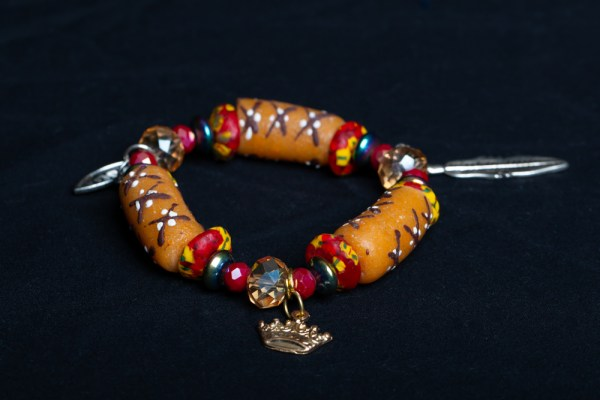 Red/Yellow, Turquoise Metallic and Tan Beads with Crown Charm