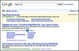 Google Ad Sitelinks - Toys R Us