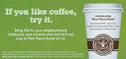 Starbucks' coffee coupons are not normal for the brand.