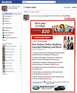 A mockup of an expanded article running in Facebook's news feed, using InStyle as an example.