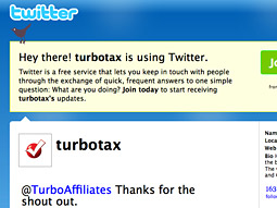 When a user clicks on an ad from Google, it takes them to TurboTax's Twitter page.