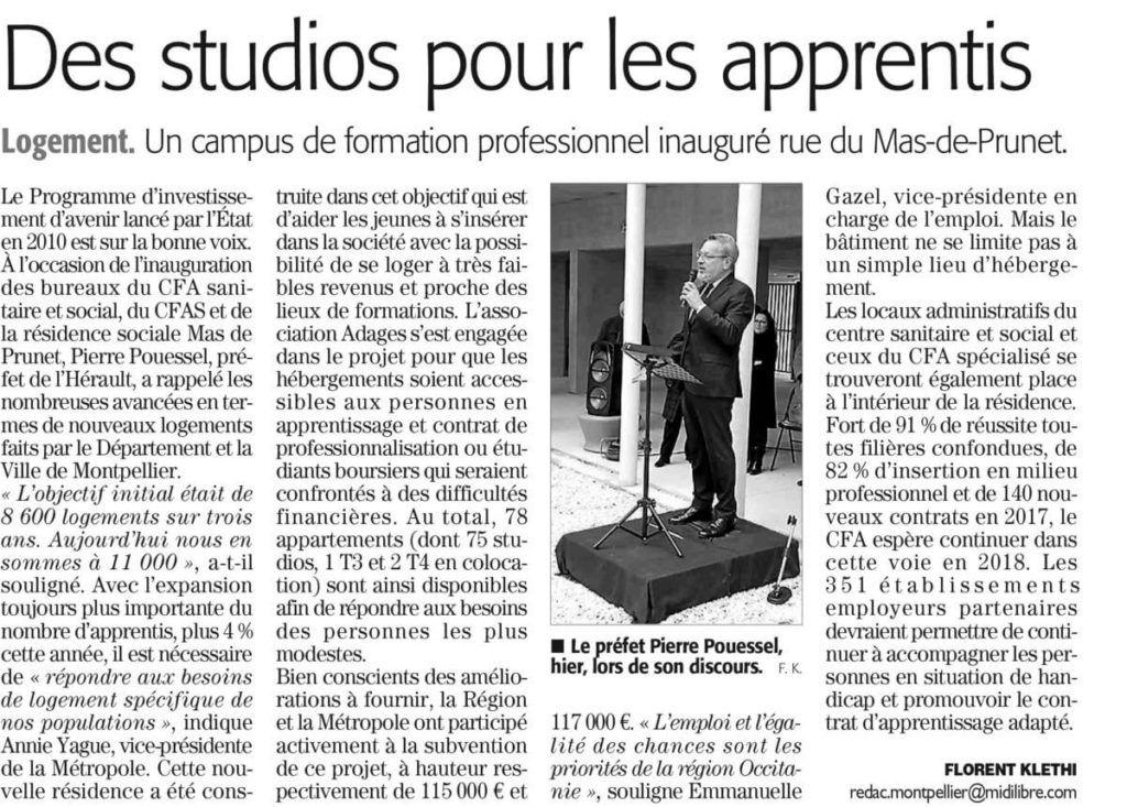 Midi Libre,Apprentissage,logement,
