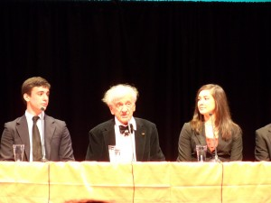 Elie Wiesel speaking with students in Charlotte NC 2010