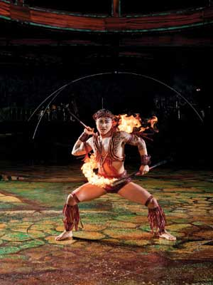 Fire knife on Stage Alegria Cirque du soleil