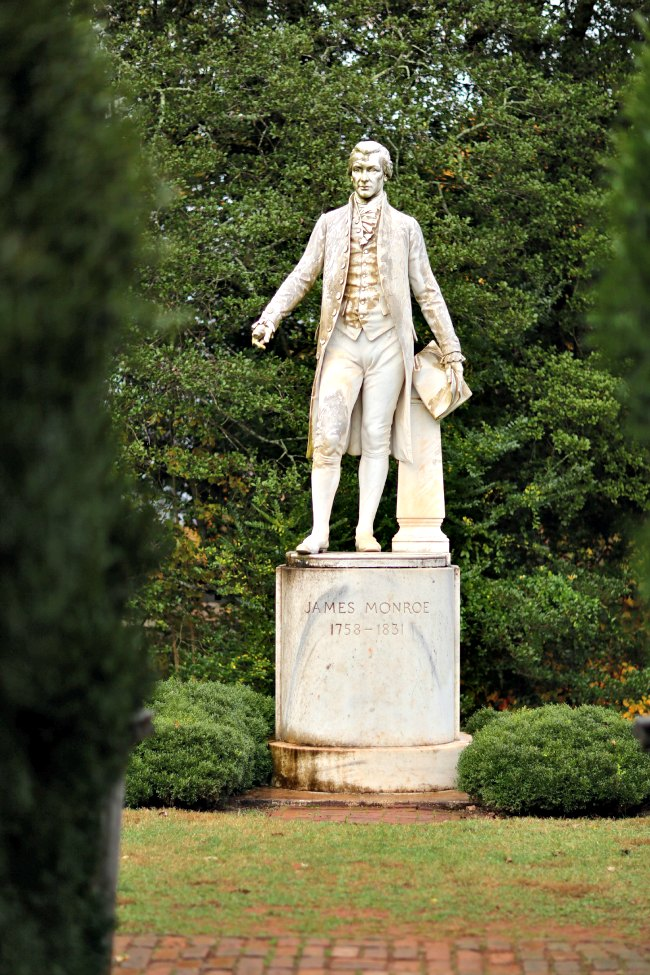 President James Monroe statue at Ash-Lawn Highland in Charlottesville, VA.