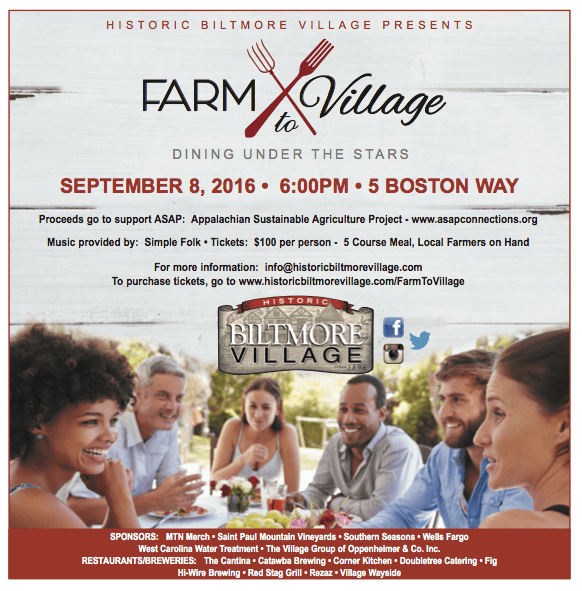 Have dinner at Biltmore Village on September 8 and support Appalachian Sustainable Agriculture Project