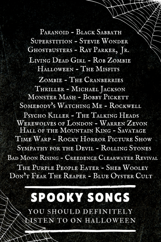 17 Spooky Songs For Your Halloween Playlist - a daily pinch