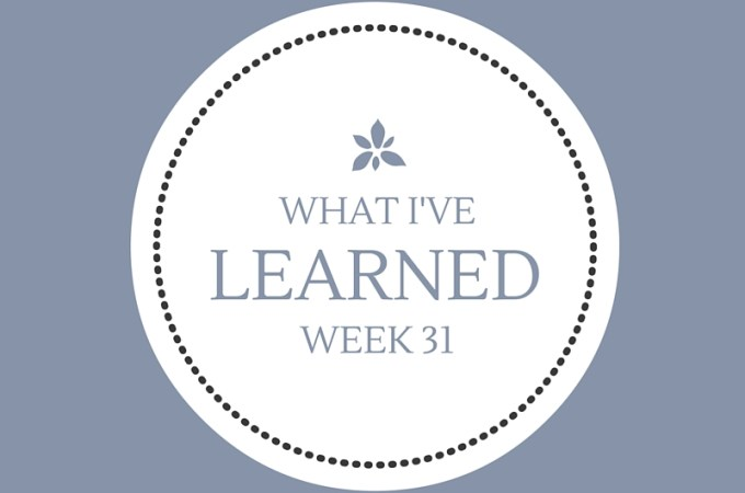What I've Learned — Week 31