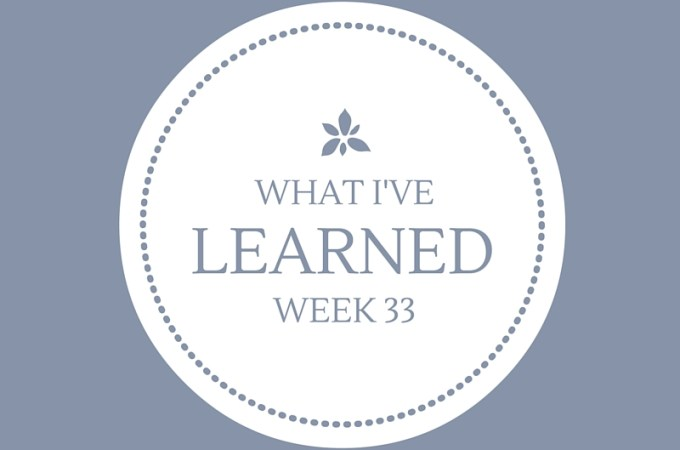 What I've Learned — Week 33