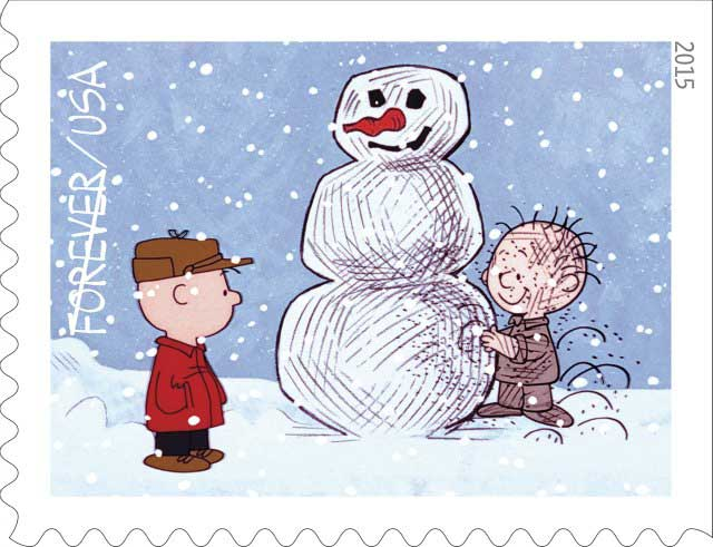 The 2015 Charlie Brown Christmas Stamps from the US Postal Service are perfect for this seasons Christmas cards.