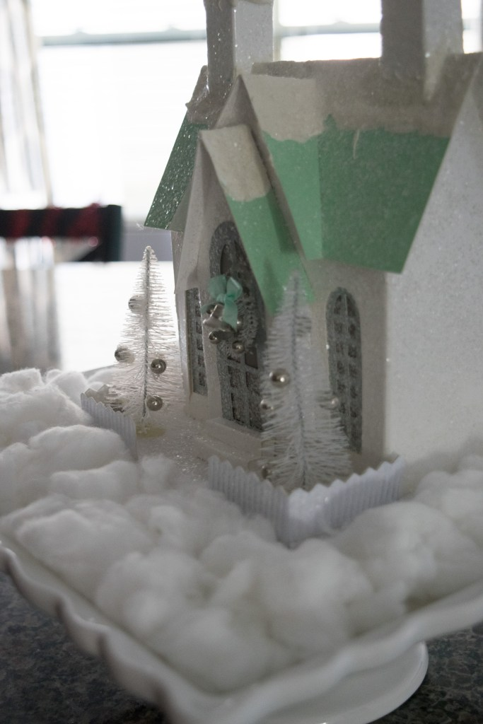 Glitter and snowed covered church kitchen Christmas decor