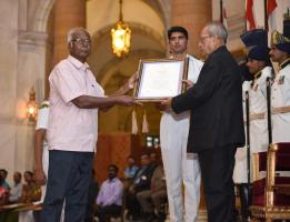 Dr. A. Dakshinamurthy received the Presidential Award for Lifetime Achievement in Classical Tamil - Tolkappiyar Award(2015) from the President of India, Mr. Pranab Mukherjee at Rashtrapati Bhavan, New Delhi on 9th of May 2016