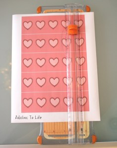 Heart stickers on cutting board