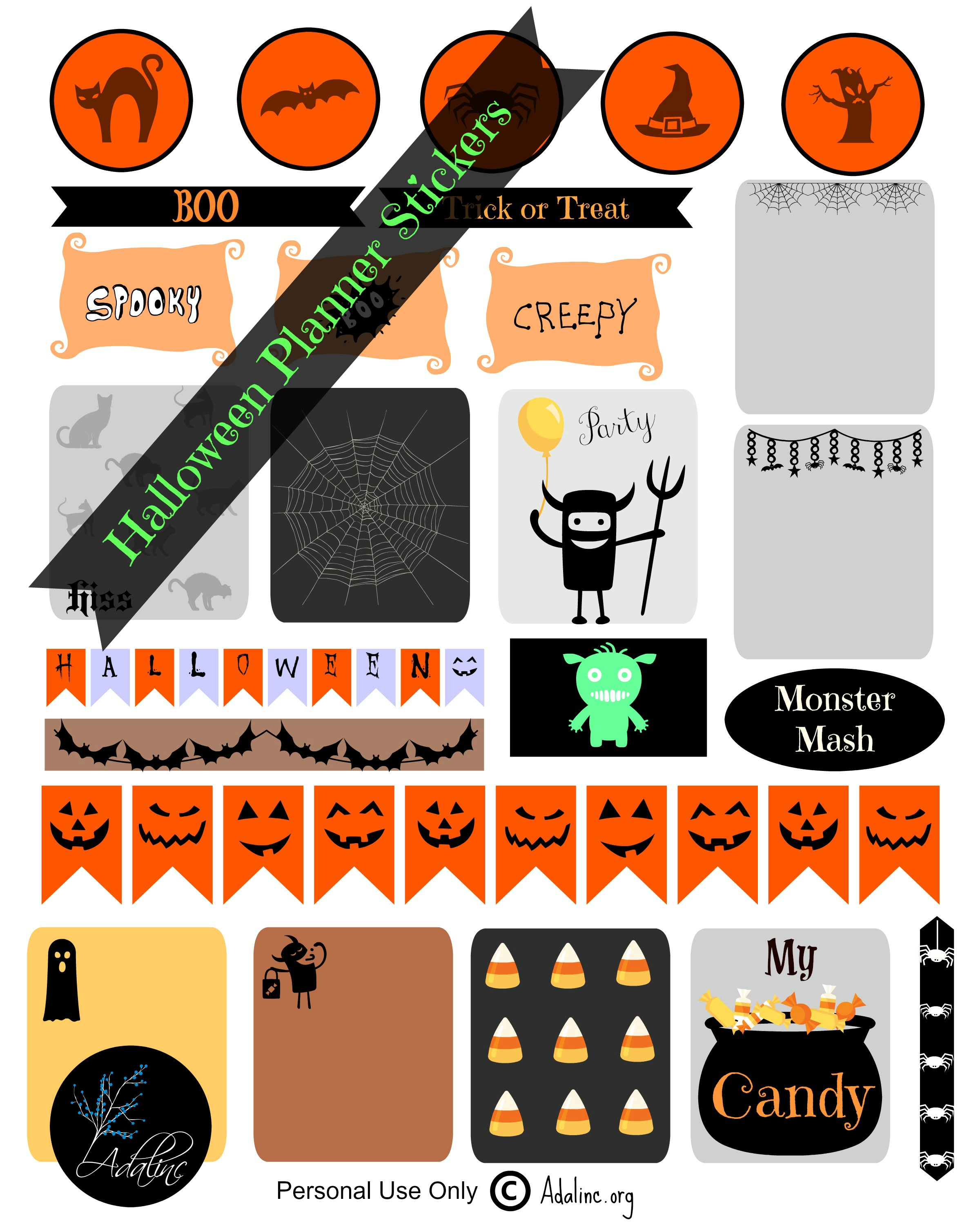 photograph about Halloween Stickers Printable identified as Halloween Planner Stickers and Absolutely free Printables Adalinc towards Lifetime