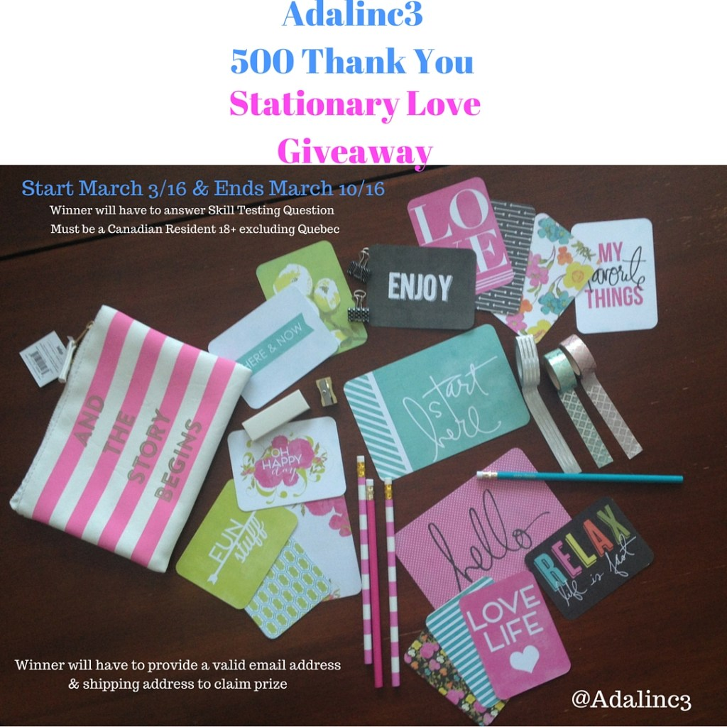 Adalinc3 500 Thank You Stationary Love Giveaway