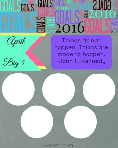 April Goals Sheet